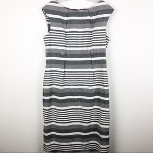 Calvin Klein Dress White Gray Strips SZ 12 NWOT